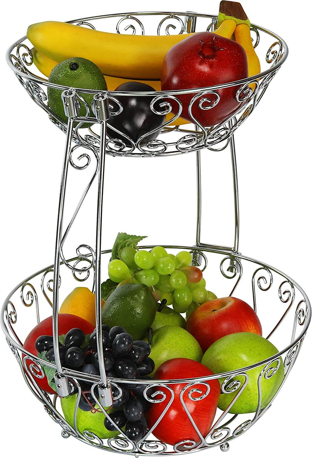 2-Tier Countertop Fruit Basket in Chrome