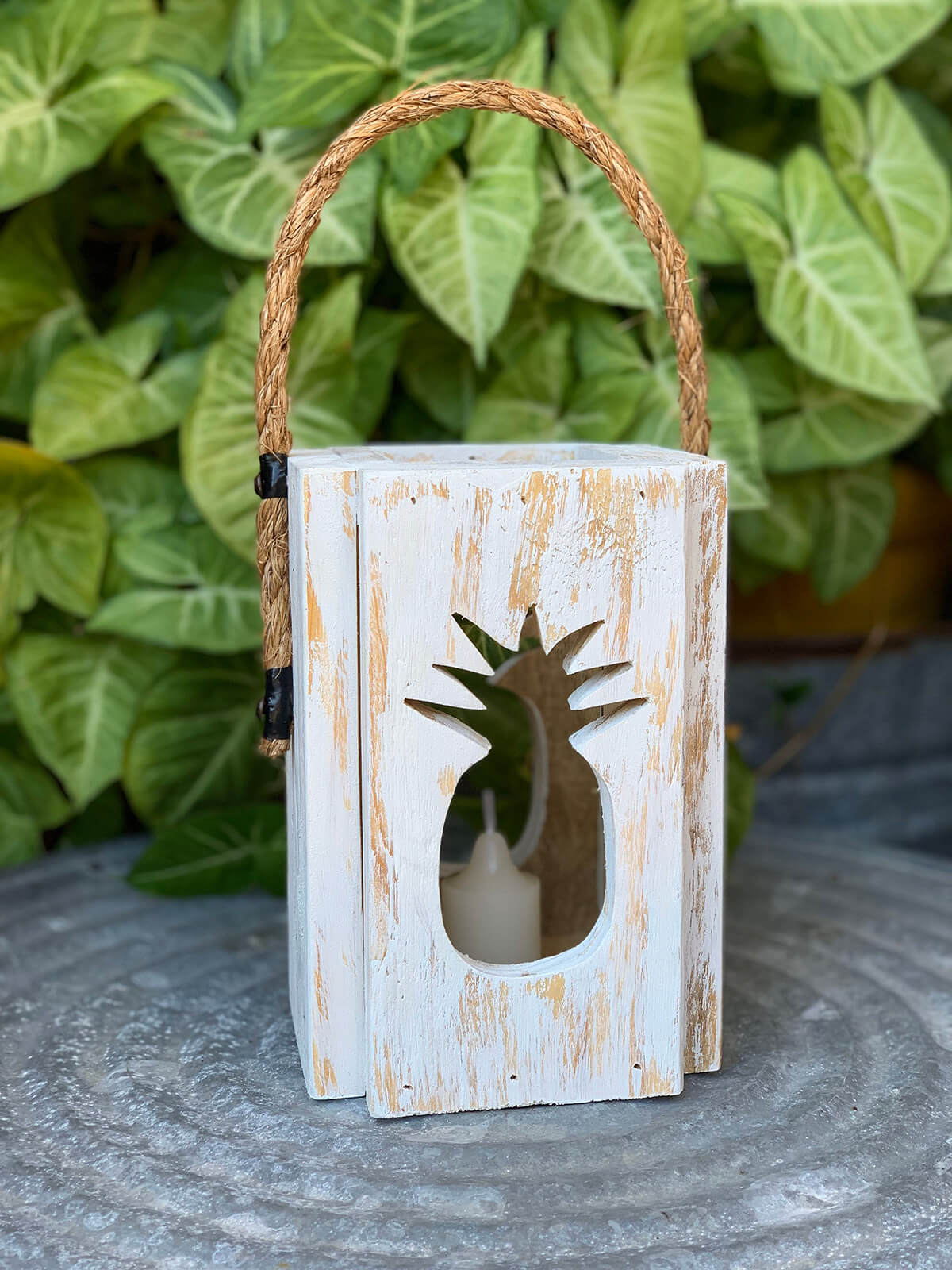 Rustic Wooden Lantern with Pineapple Cutout