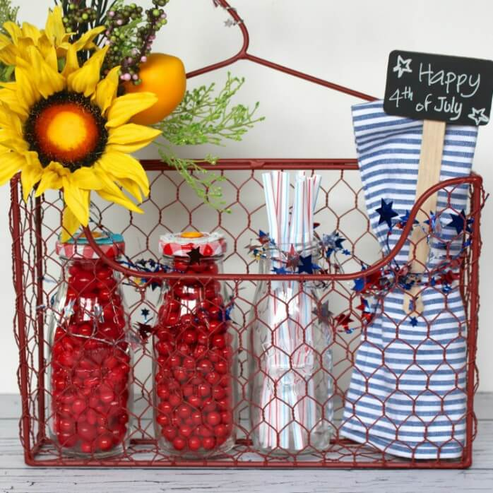 Red White and Blue Hanging Wire Basket
