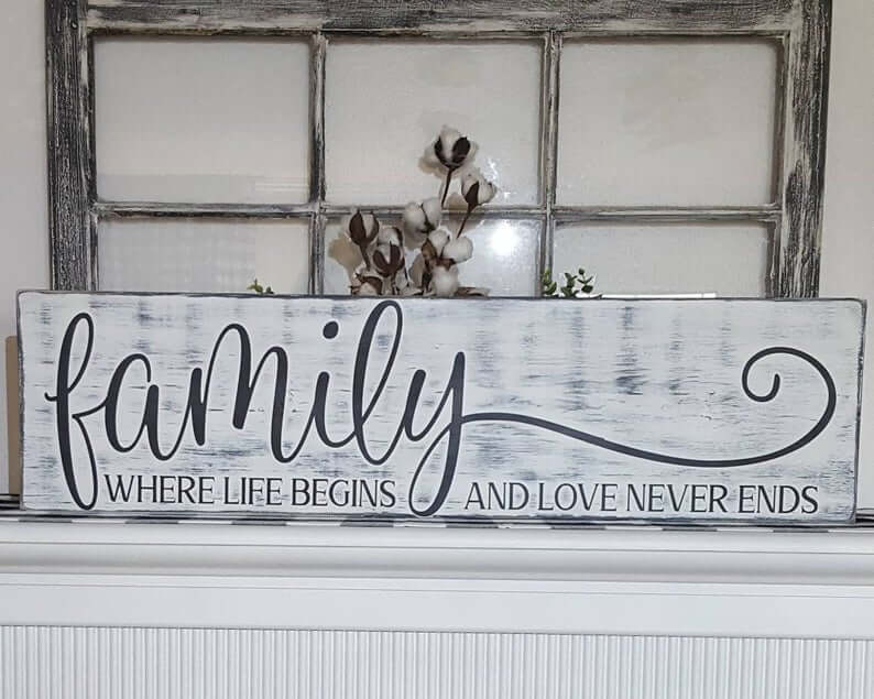 Oblong Distressed White Family Wooden Wall Sign