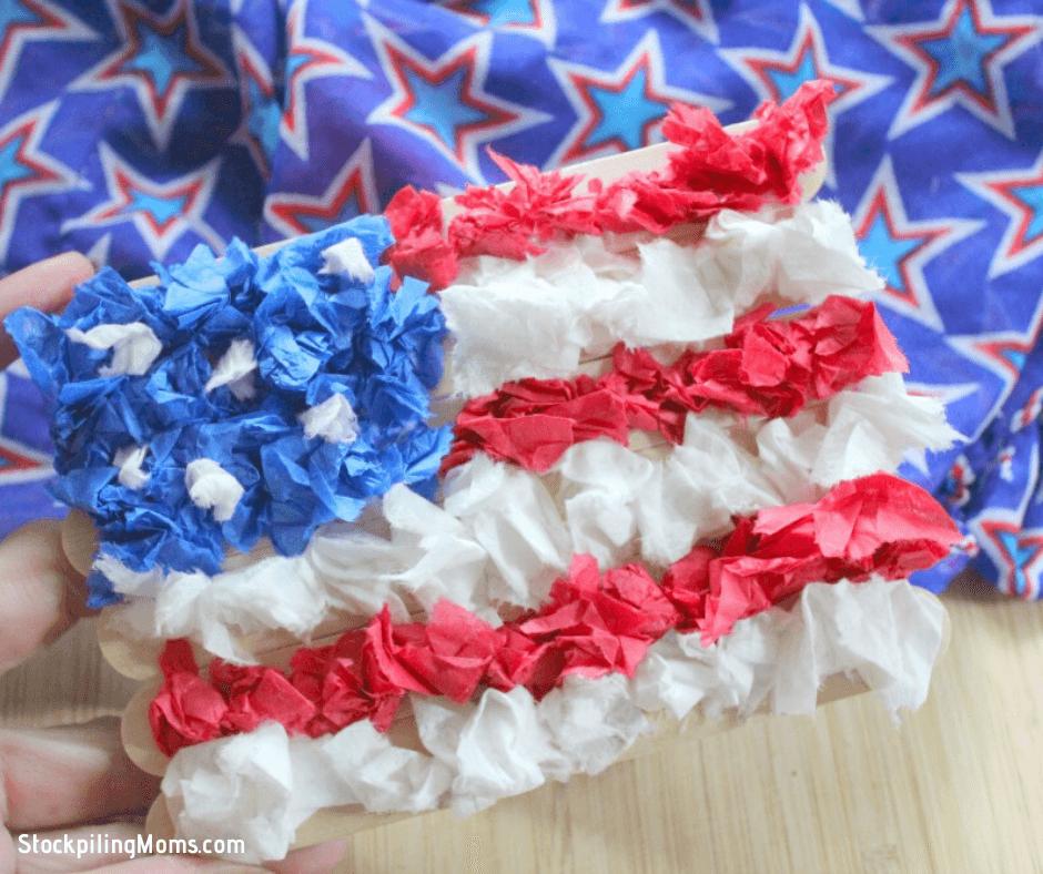 Adorable Kids DIY Tissue Paper Flag