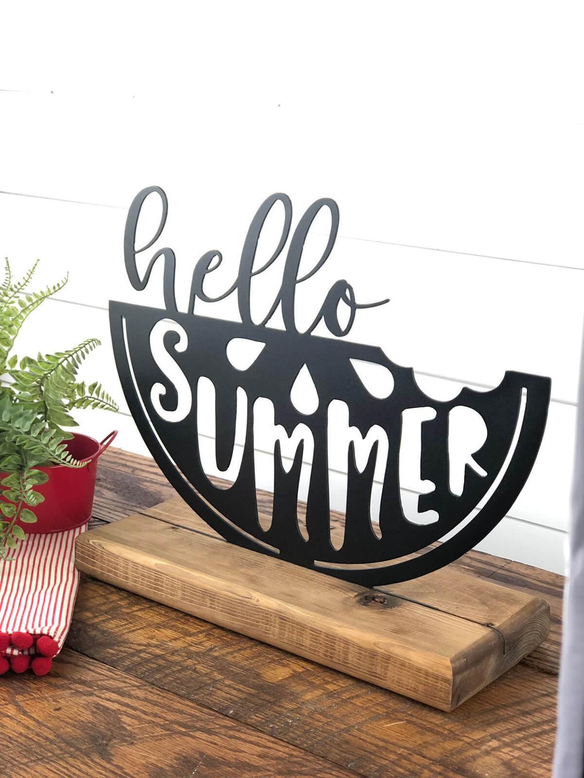 Cute Hello Summer Metal Sign Shelf Sitter