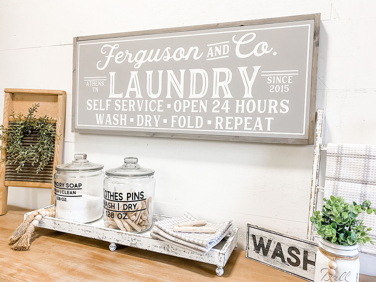 Laundry Room Sign Vintage Old Wooden Shabby Antique Style Farmhouse Mum Gift