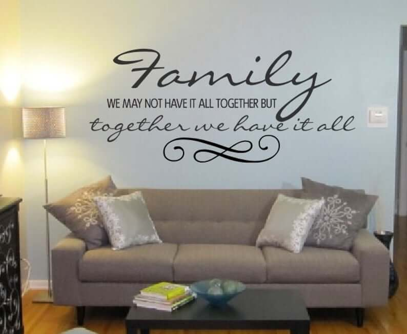 Black Vinyl Family Together Wall Decal