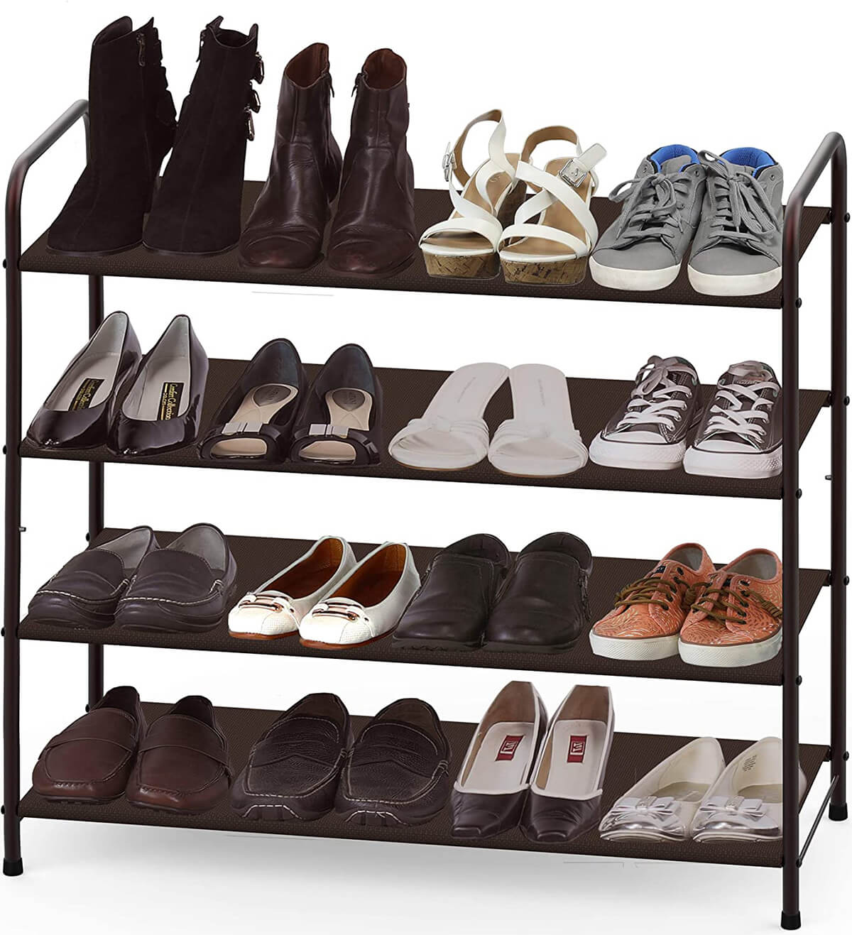 Four-Tier Rack with Fabric Shelves