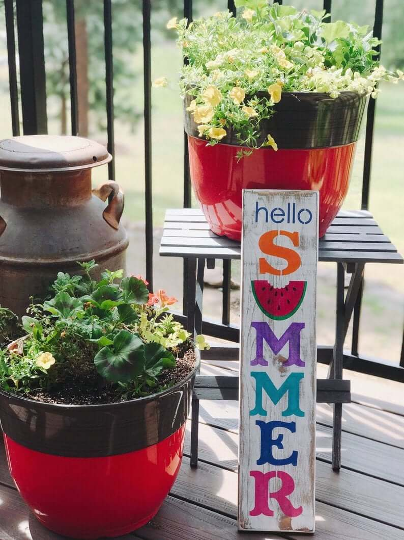 Colorful Hello Summer Wooden Sign