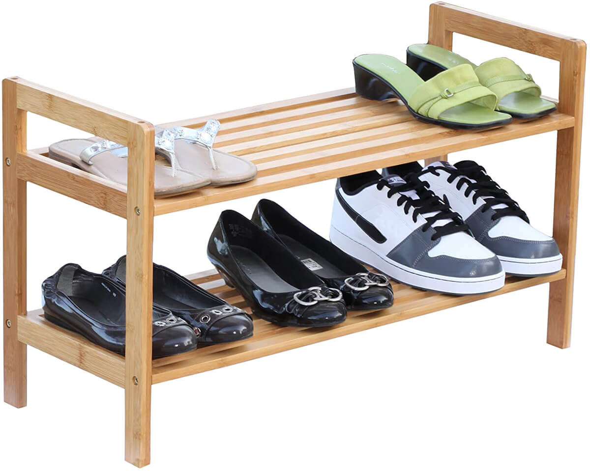 Natural Two-Tier Bamboo Shoe Rack