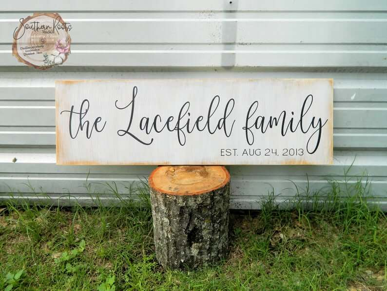 Vintage Feel Family Sign with Date of Establishment