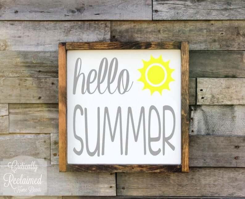 Rustic Wood Framed Hello Summer Art