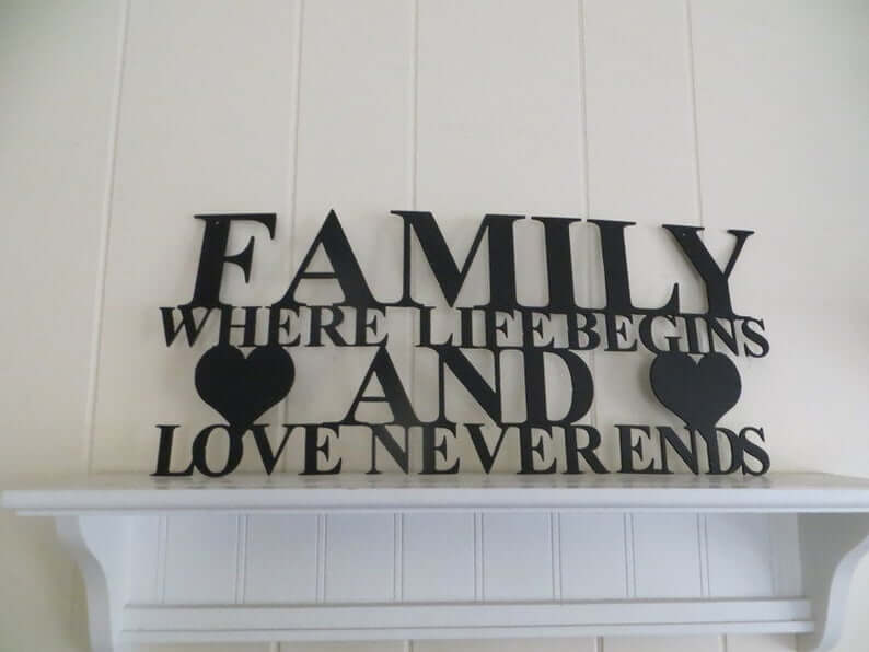 Family is Where Life Begins and Love Never Ends Metal Sign