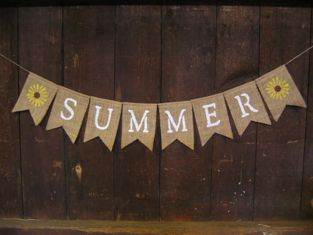 Summer Burlap Banner with Sunflowers