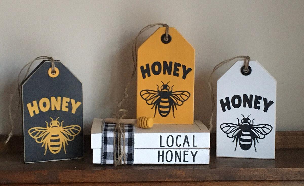 Honeybee Tag-Shaped Wooden Signs