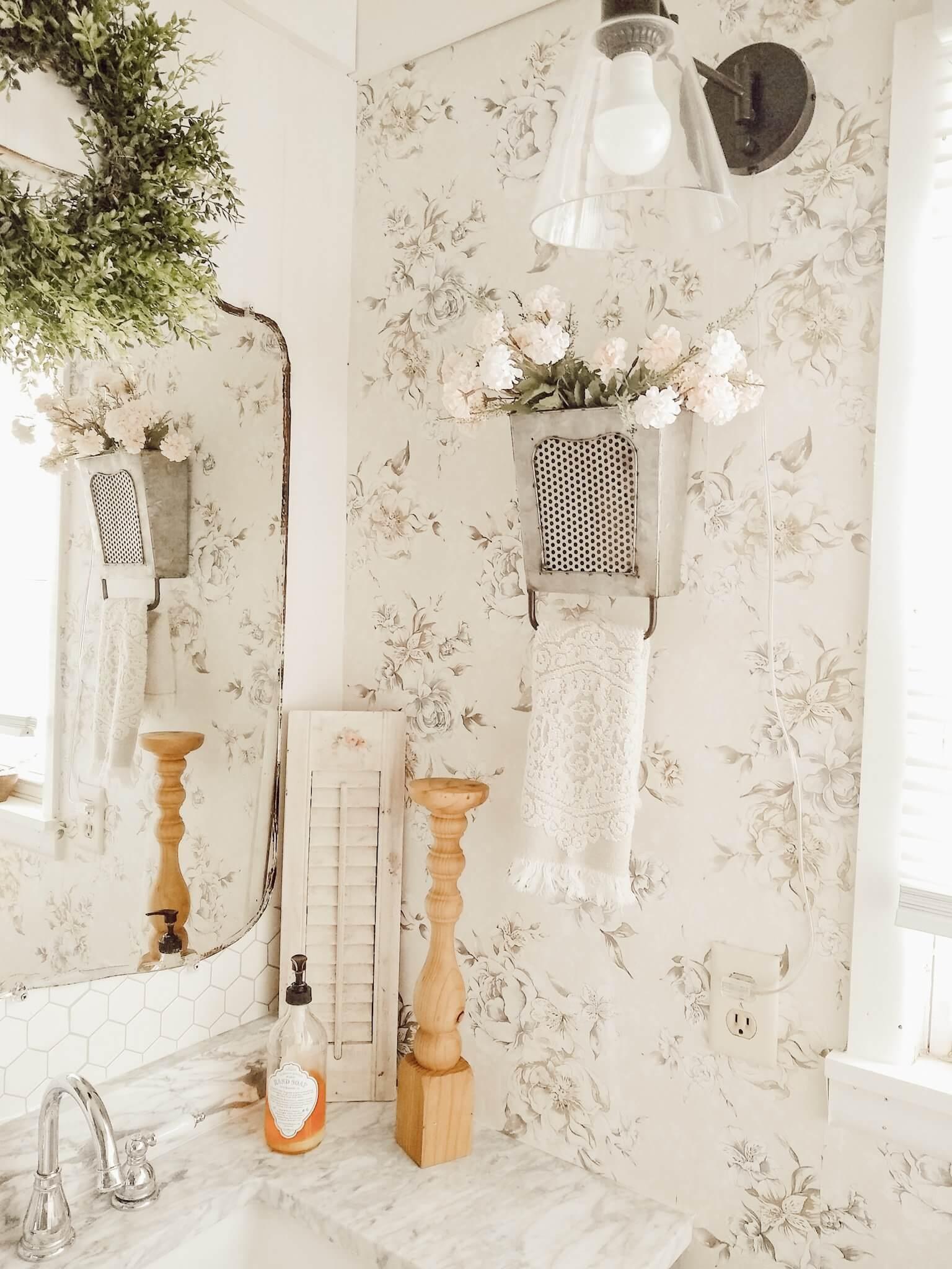 Farmhouse Theme Flower Vase and Towel Rack