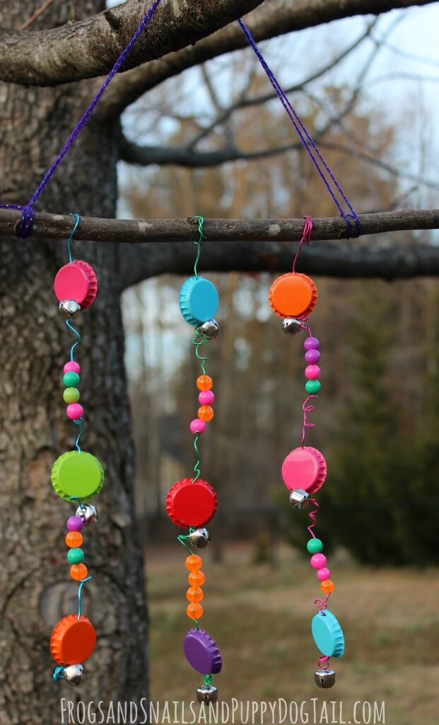 Bold and Bright Bottle Cap, Bell, and Bead Stick Wind Chime