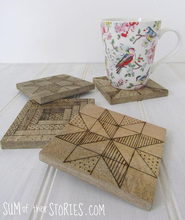 Quilt Block Wood Burned Coasters