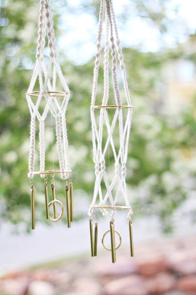 Cool and Contemporary White and Gold Macramé Geometric Wind Chime
