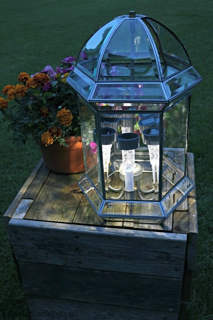 Solar Light Spectacular Outdoor Upcycled Centerpiece