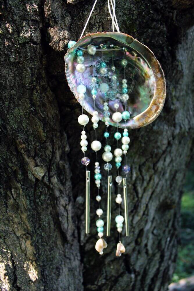 Marvelous Mother-of-Pearl Shell with Beads and Chimes Unique Wind Chime