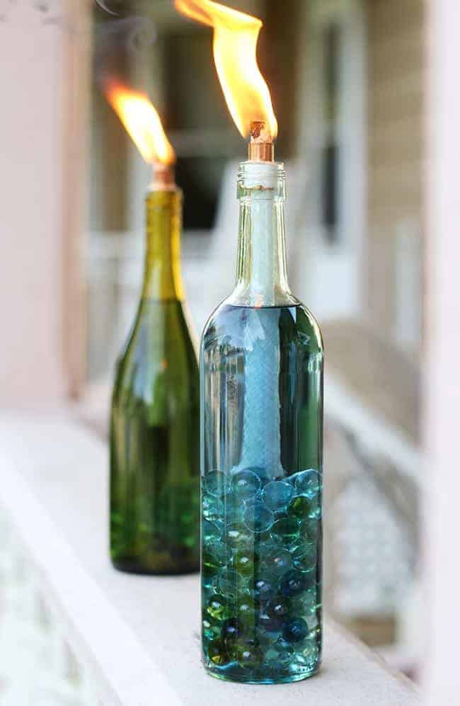 Wild and Wonderful Wine Bottle Outdoor Torch Lamp