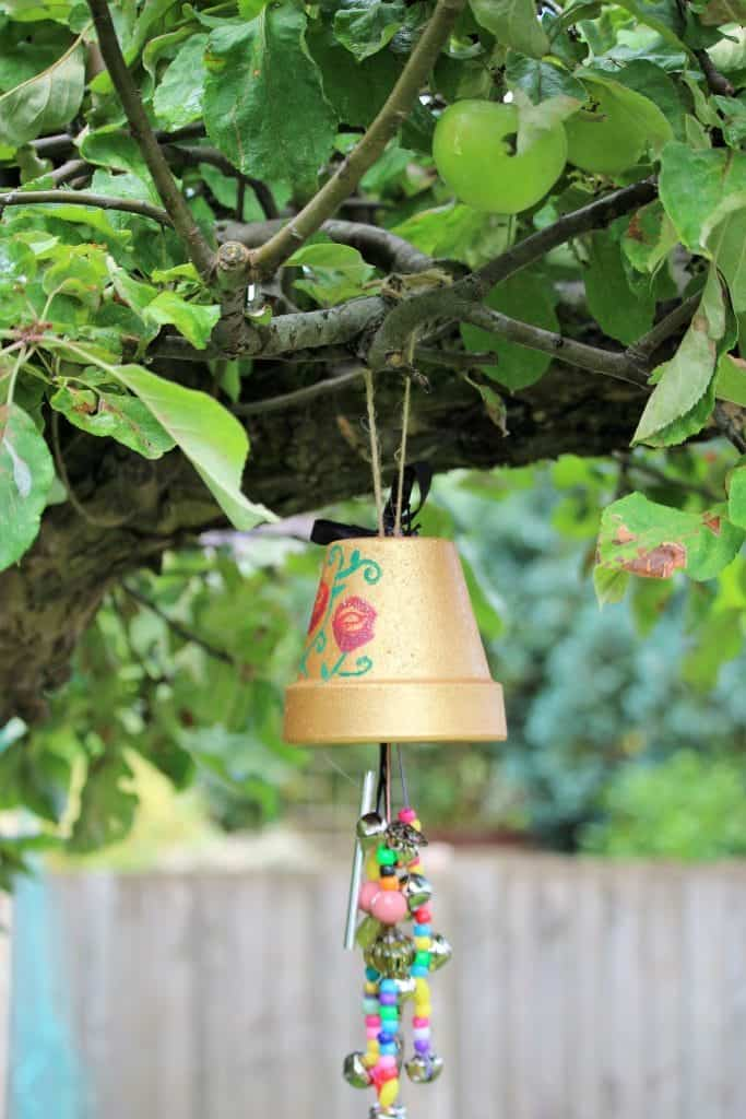 Upside Down Flower Pot with Beads and Bells Cheerful Homemade Wind Chime