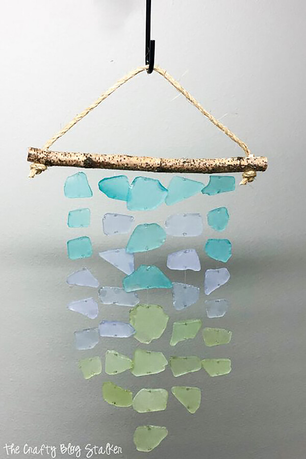 Ombre Blue to Green Glass Rock and Stick Wind Chime