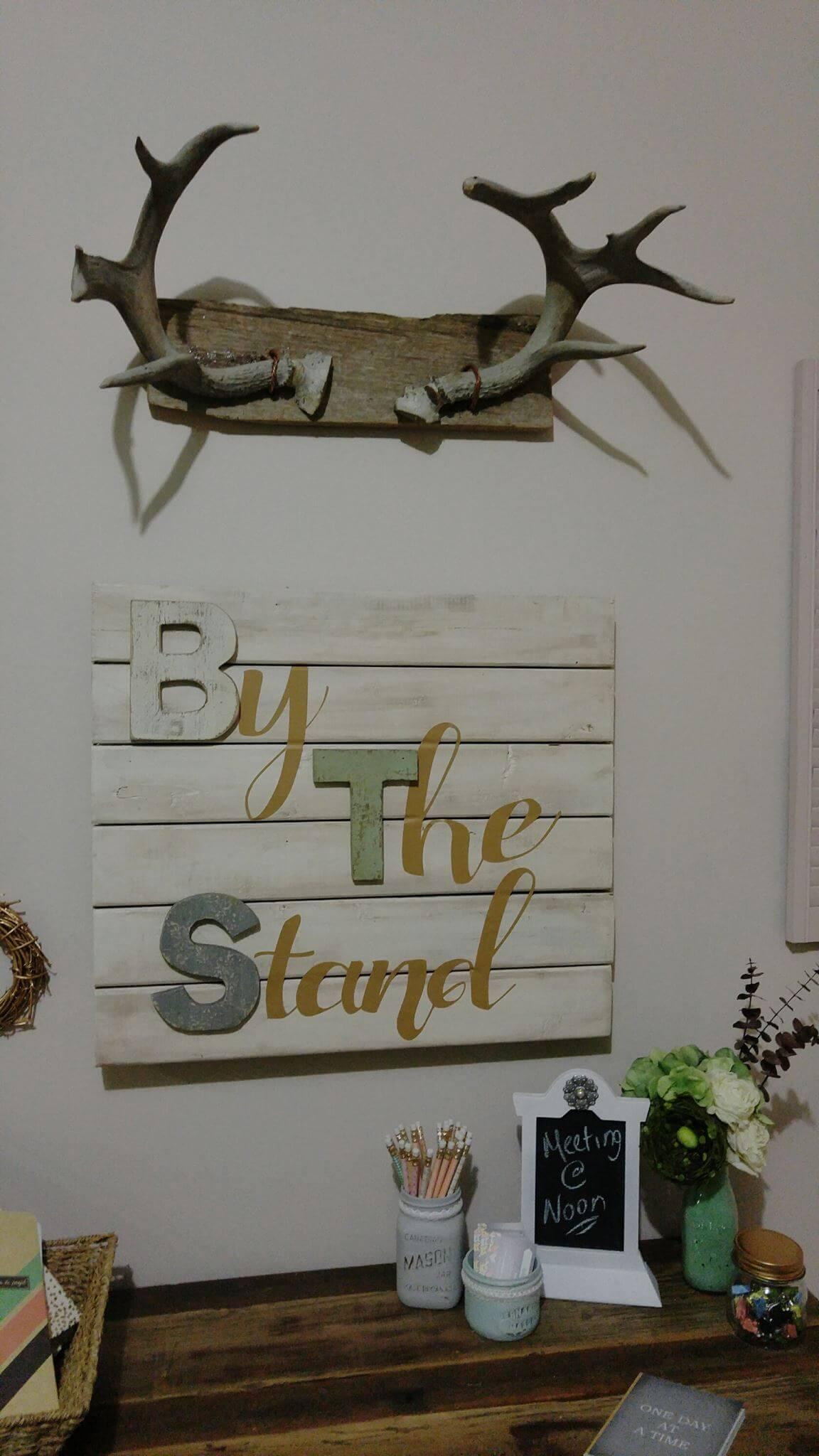 Wooden Sign and Deer Antler Combo Art