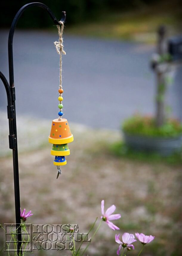 Miniature Flower Pot Trio with Bright Beads String Wind Chime