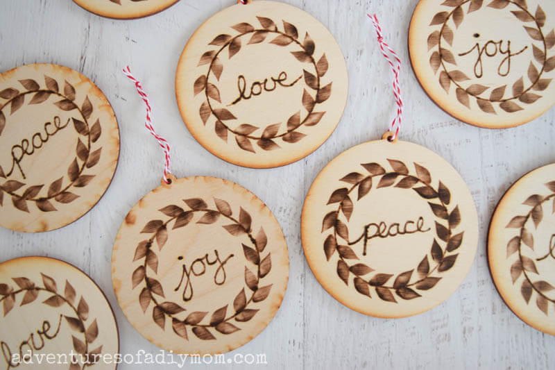 Sliced Wood Ornaments with Sentiments
