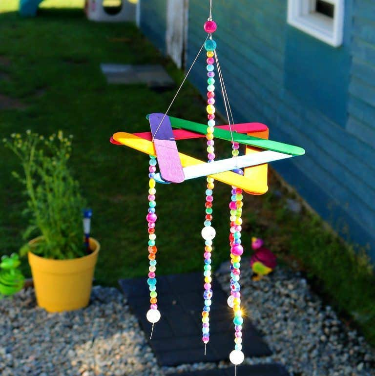 Bright and Bold Colorful Popsicle and Beaded Star of David Wind Chime