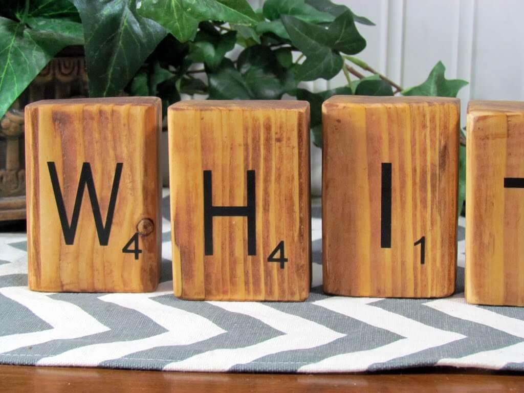 DIY Wood Burned Letter Tiles