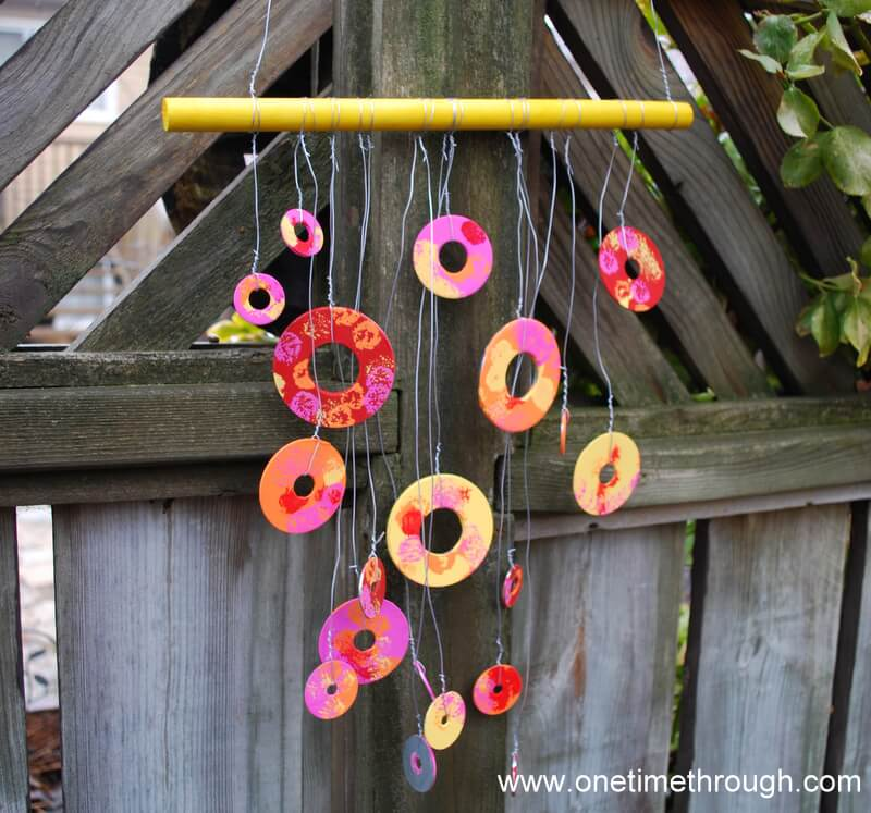No Longer Washed Up Pretty Painted Metal Washer Wind Chime
