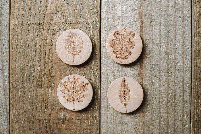 Wood Burned Magnets with Leaf Designs