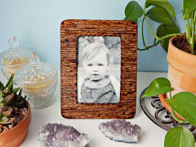 Wooden Picture Frame with Pyrography Design
