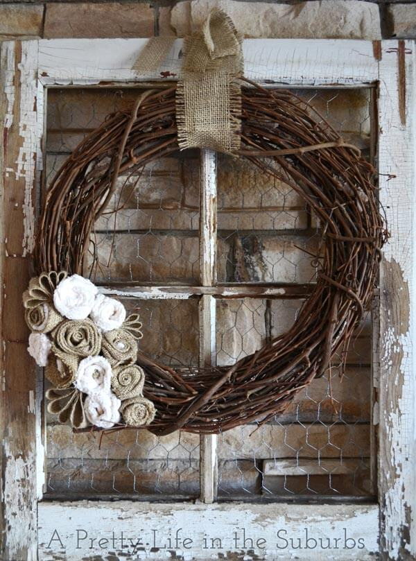 Elegant Fall Burlap Grapevine Wreath