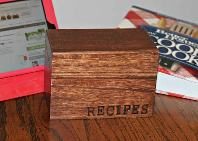 Recipe Box with Wood Burning Letter Stamps