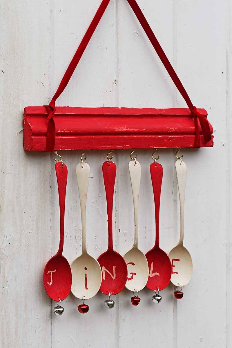 Red and White Jingle All the Way Home DIY Wind Chime
