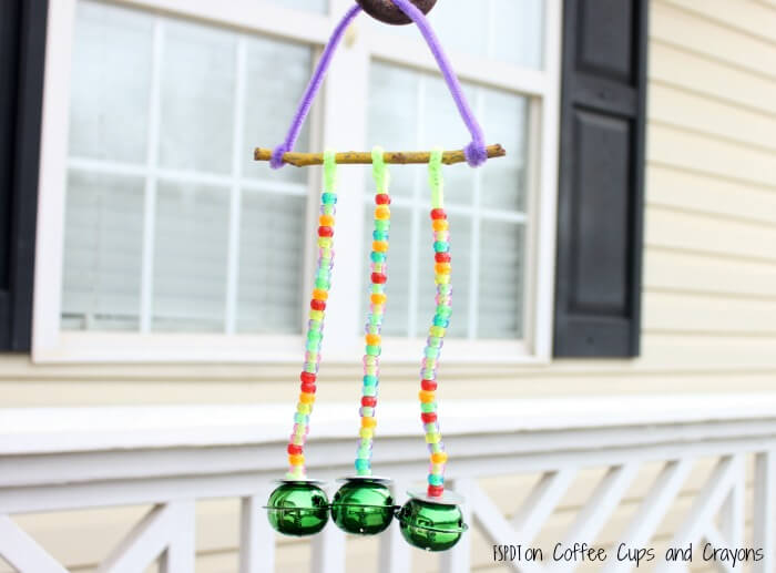 Pretty Pipe Cleaners, Beads, and Bells Handmade Wind Chime