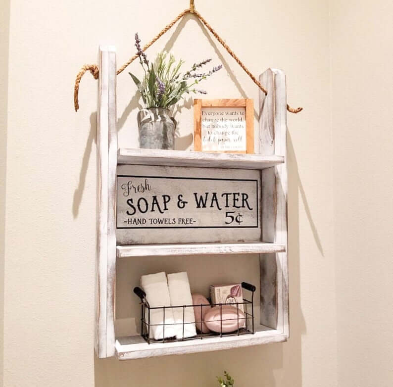 Customizable Over-the-Toilet Hanging Shelf with Sign