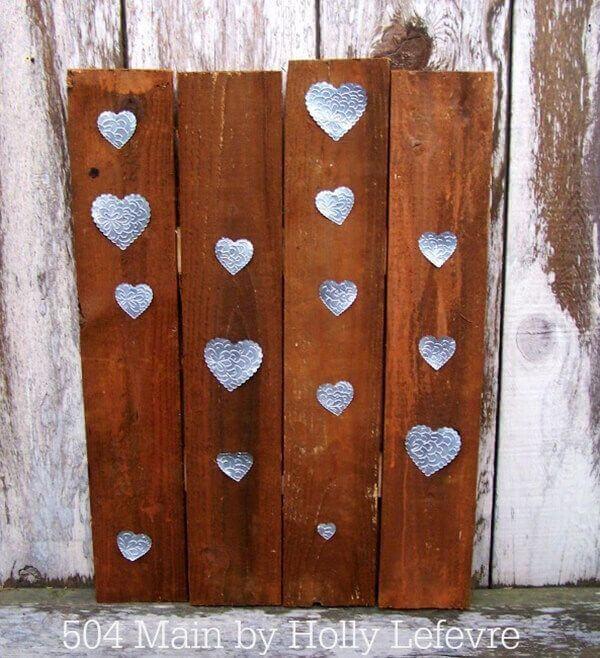 Embossed Metal Heart Wooden Pallet Art