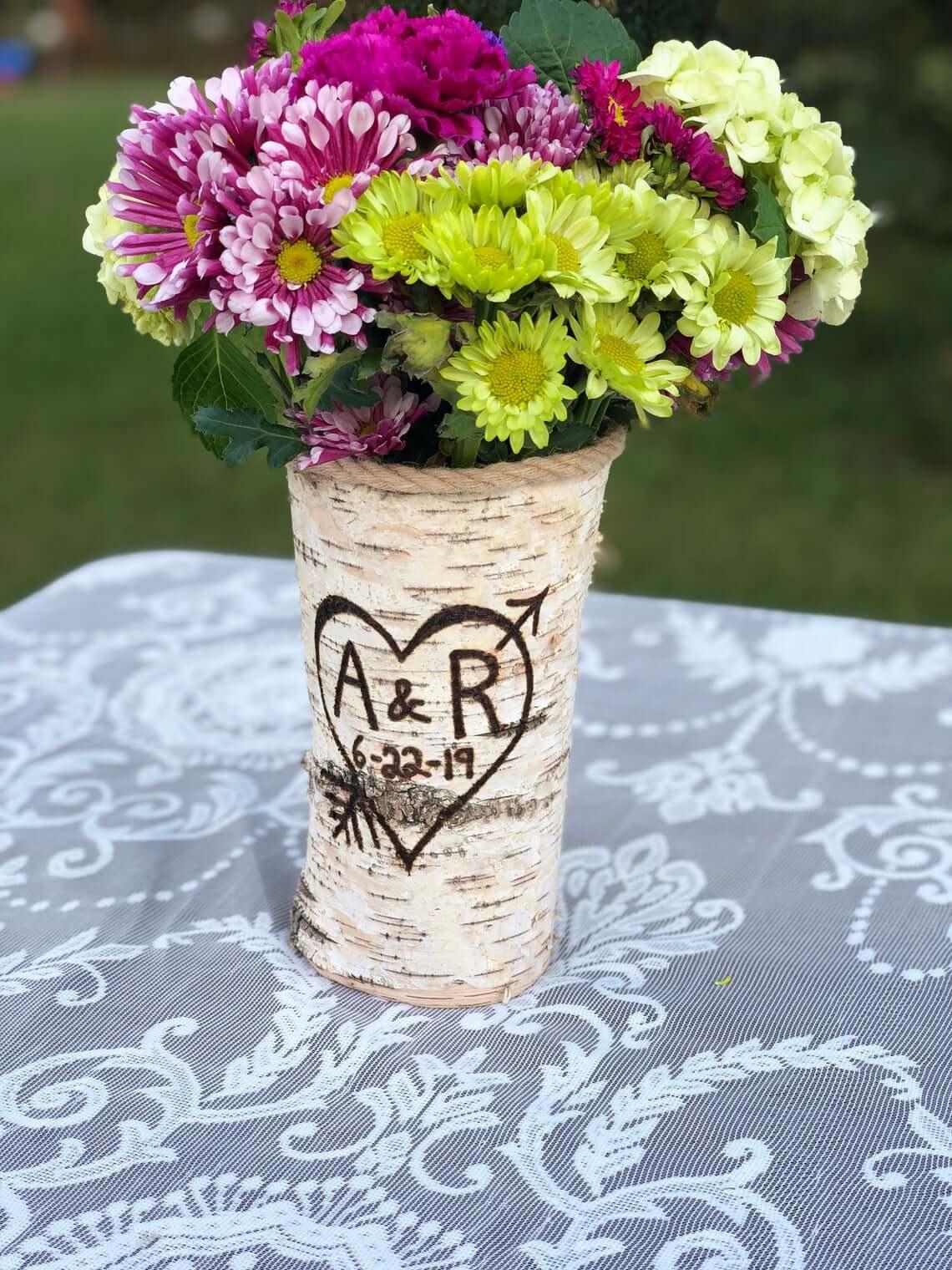 Tree Trunk Styled Wood Burned Vase