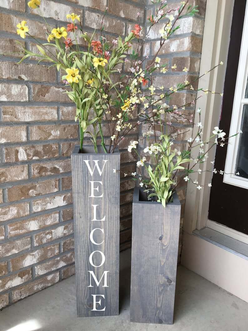 Reclaimed Wooden Flower Porch Vases