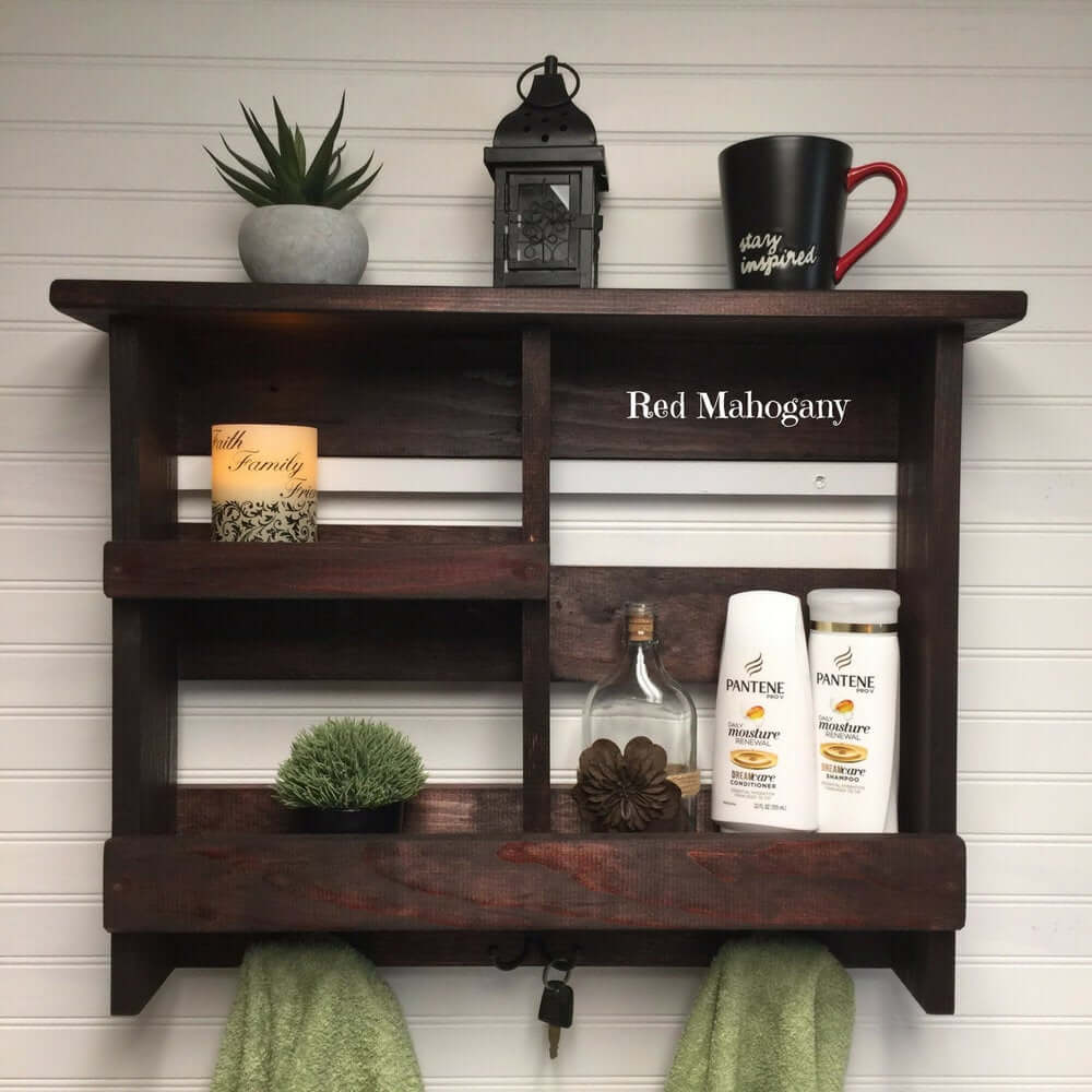 Rustic Pallet Style Bathroom Shelves with Hooks