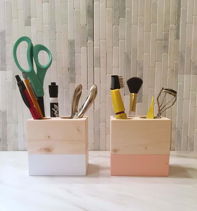 Unique Wooden Storage Cubes for Bathroom Counter