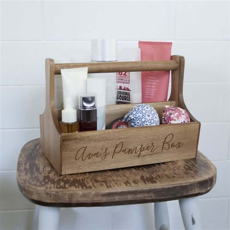 Carry-Along Wooden Storage Caddy for Toiletries