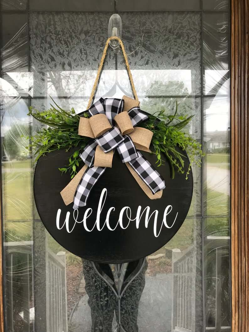 Seasonal Hanging Wooden Door Wreath