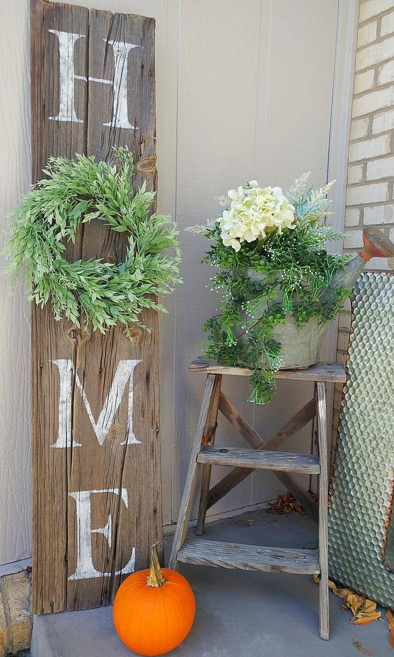 Distressed Barnwood Vertical Home Sign