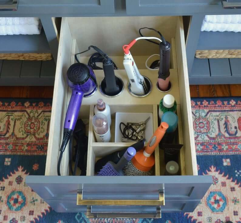 Hidden In-Cabinet Styling Tool Organization and Storage