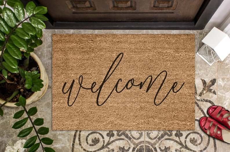 Hand-Painted Calligraphy Coconut Coir Doormat
