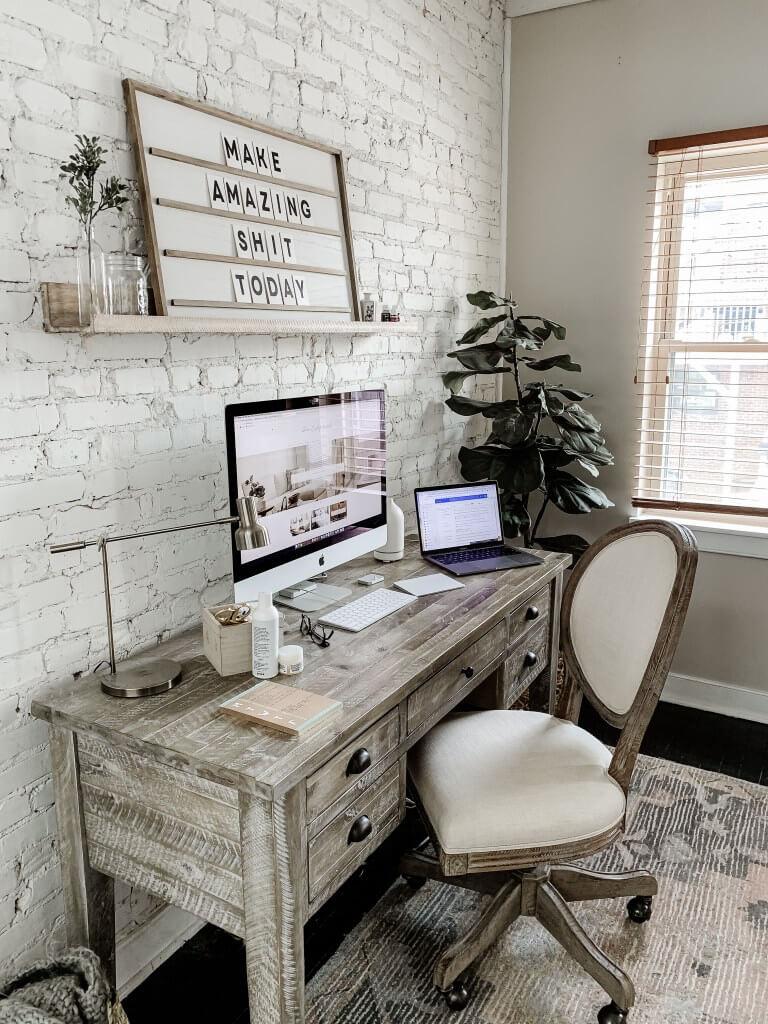 Gray Reclaimed Barn Wood Farmhouse Office Writing Desk