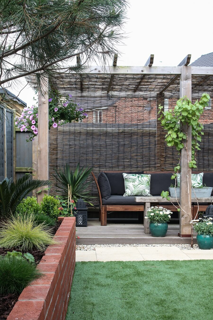 Intimate Pergola and Raised Garden Bed